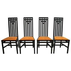 Four Mackintosh Style Black Lacquered High Back Chairs, 1979