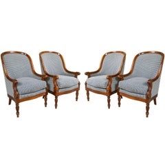 Four Mahogany Empire Style Armchairs Attributed to Maison Jansen Can buy Two.
