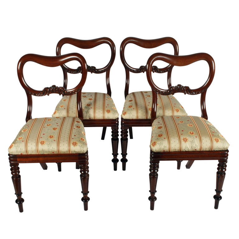 Four Mahogany 'Kidney' Back Chairs For Sale