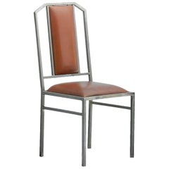 Four Maison Jansen Chairs Leather Brushed Metal French c1970 Sold Individually