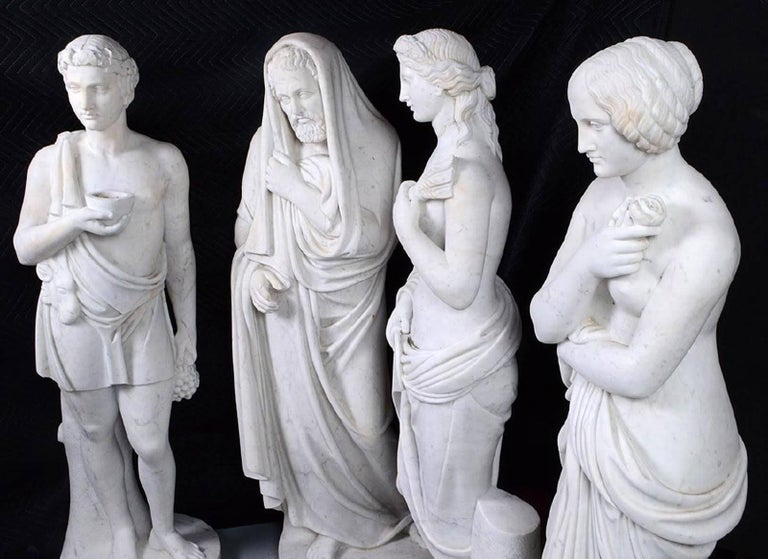 Carved Four Marble Statues of the Four Seasons For Sale