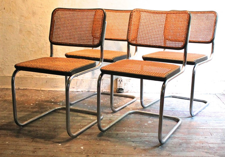 Purchased from the Vera Neumann estate, these chairs are from the Croton-On-Hudson, NY house that Marcel Breuer built for the Neumann's in 1953. These B32's are pre Knoll ( called