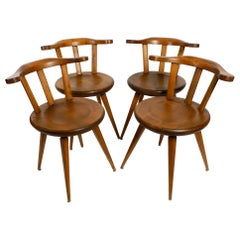 Four Massive, Beautiful Mid-Century Solid Wood Sprouted Chairs with Low Backs