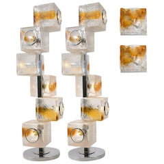 Four Mazzega and VeArt Light Fixtures Two-Wall Sconces and Two-Floor/Table Lamps