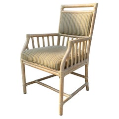 Four McGuire Arm Chairs with White Washed Finish, Great Scale for Comfort