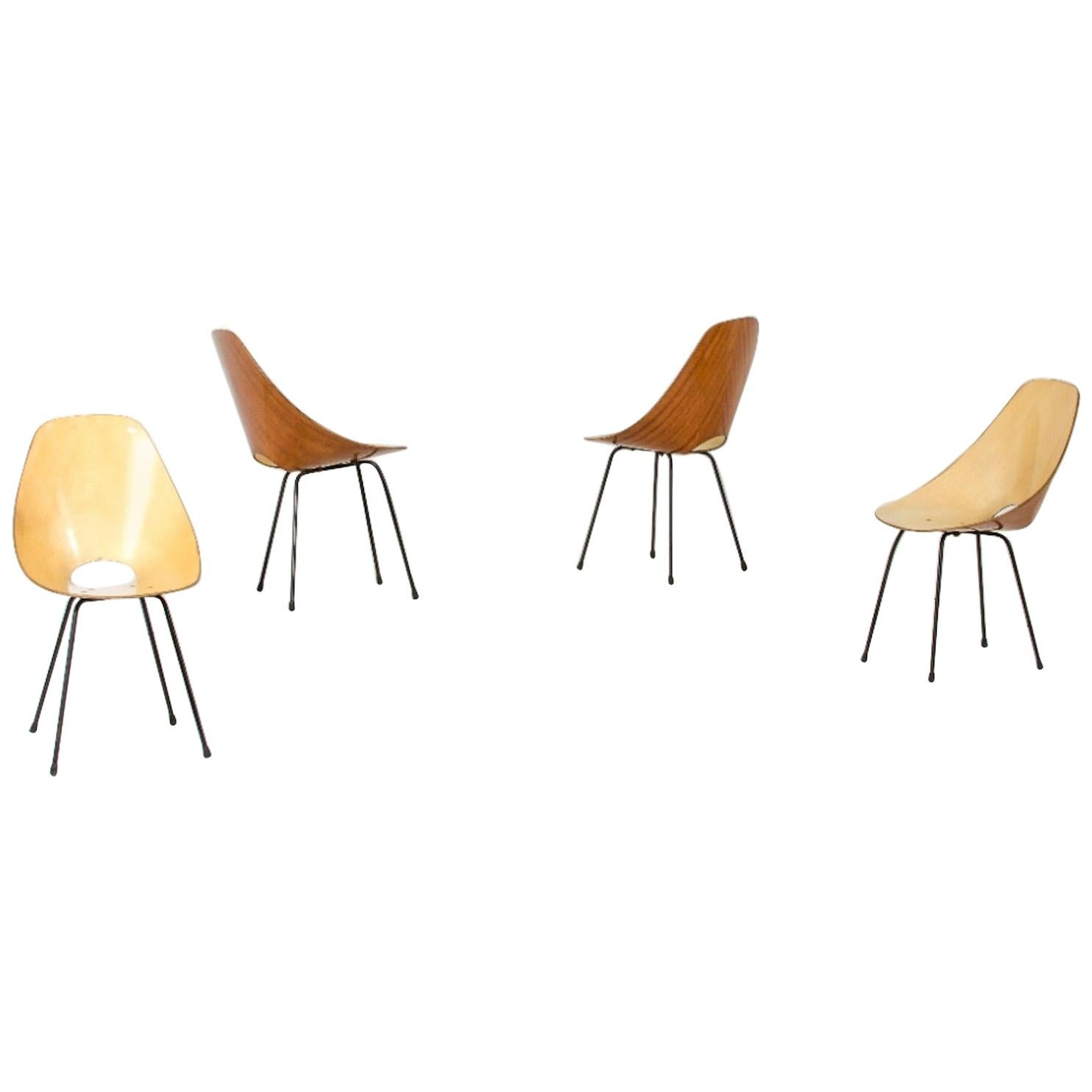 """Four """"Medea"""" Chairs by Vittorio Nobili, Italy, 1955"""