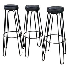 Three Metal Stools by Raoul Guis, France, 1950