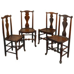 Four Mid-18th Century Shropshire Elm Side Chairs