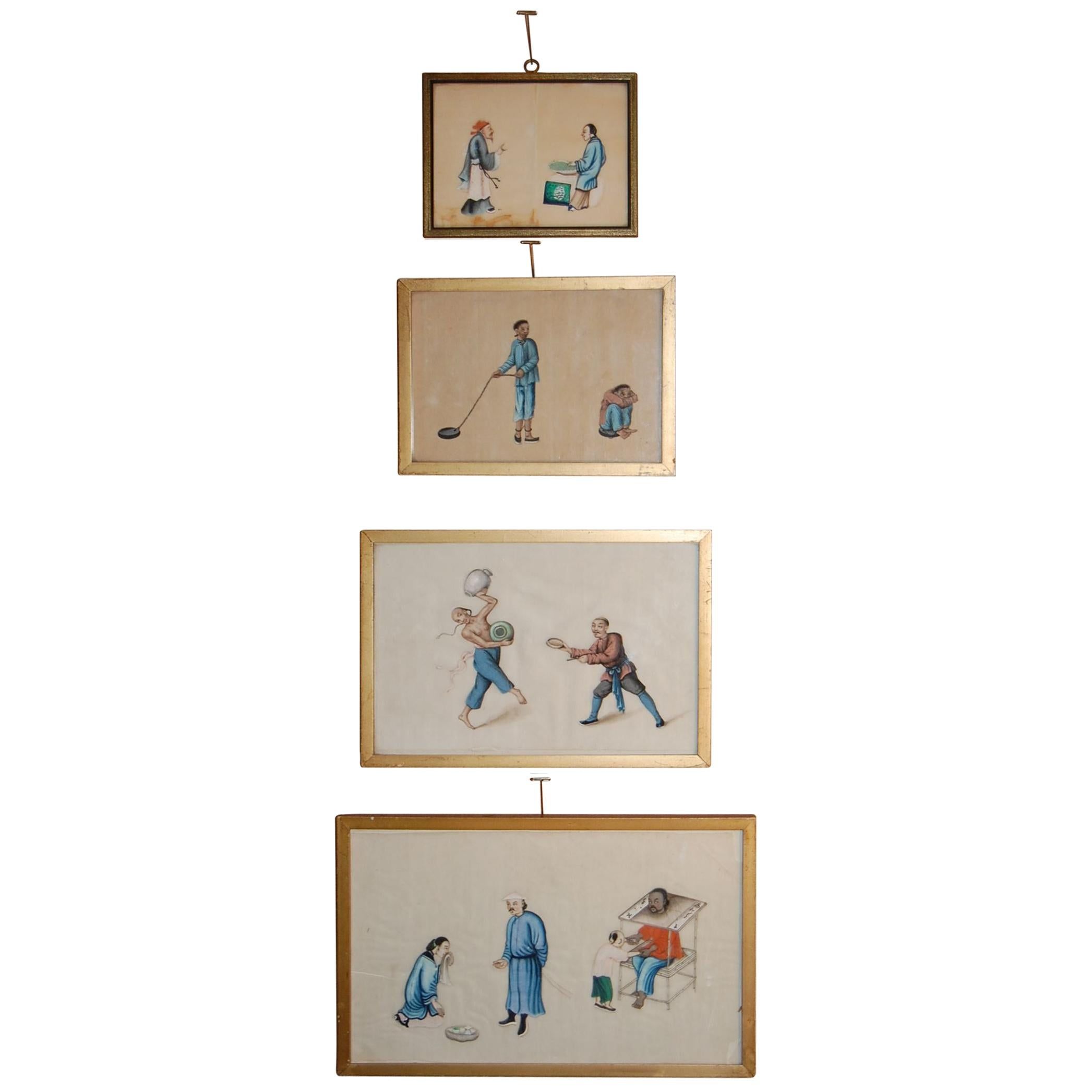 Four Mid-19th Century Chinese Watercolors Depicting Scenes of Torture, Etc.