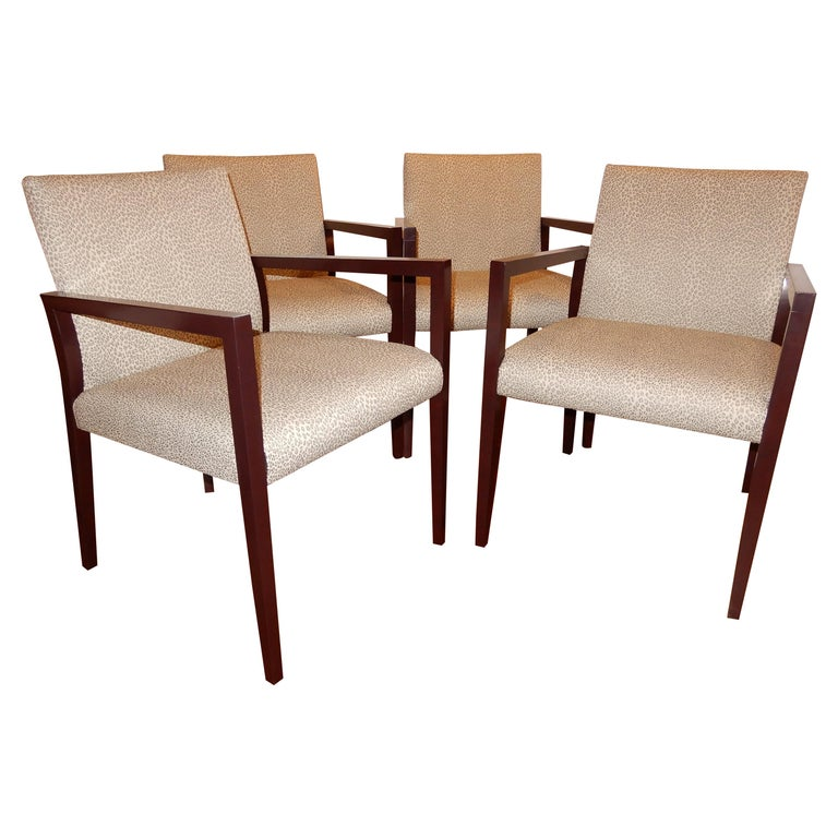 Four Midcentury American Made Armchairs by Gunlocke Co after Risom For Sale