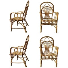 Four Midcentury Bamboo Patio Armchairs