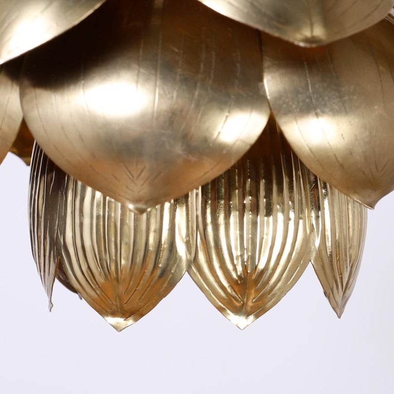 Hong Kong Four Midcentury Brass Lotus Light Fixtures, Priced Individually For Sale