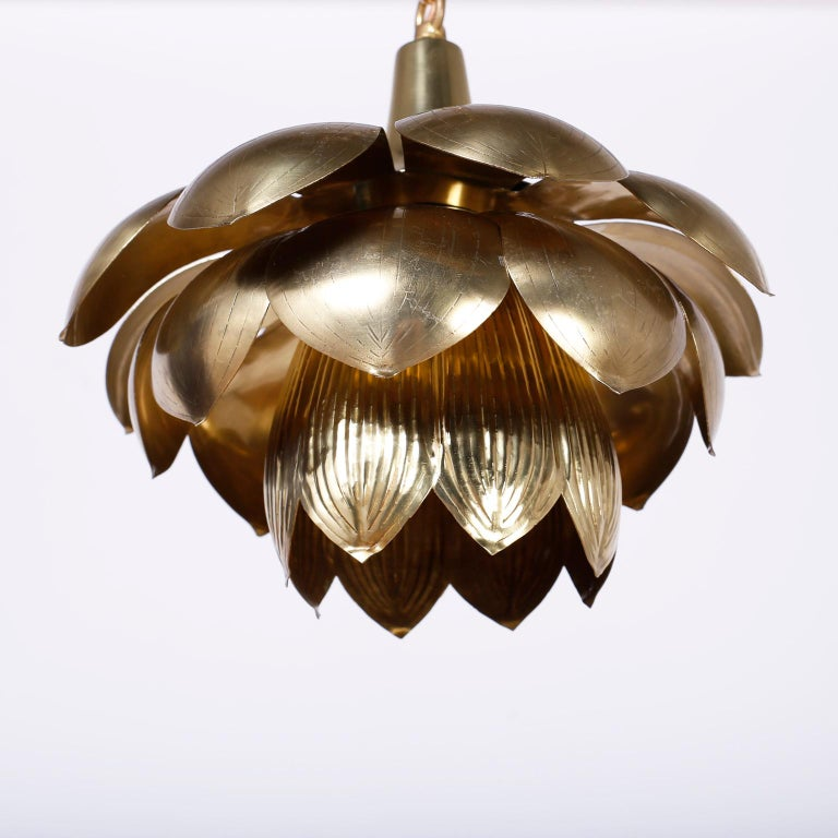 Polished Four Midcentury Brass Lotus Light Fixtures, Priced Individually For Sale