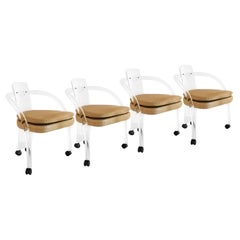 Four Mid Century Charles Hollis Jones Style Lucite Chairs