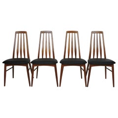 Four Midcentury Danish Modern Teak Eva Dining Chairs by Niels Koefoed