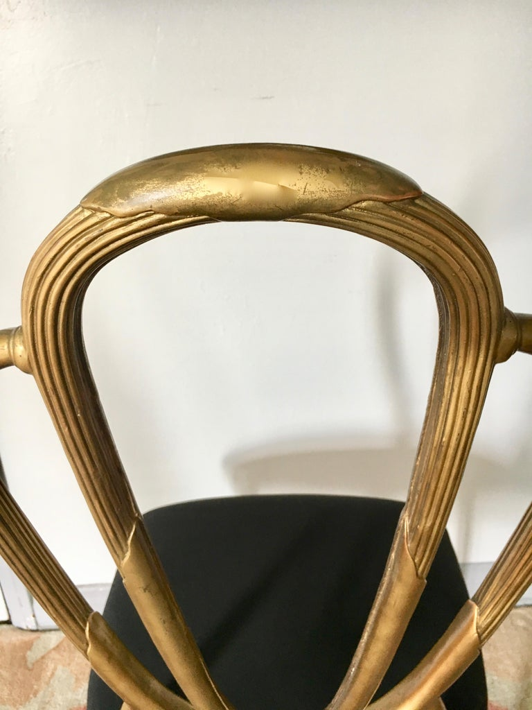 20th Century Four Midcentury Gold Dining Chairs For Sale