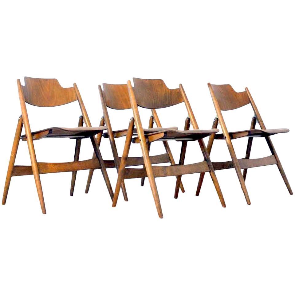 Set of Four Plywood Folding Chairs Egon Eiermann 1950's