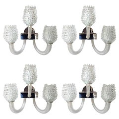 Four Mid-Century Modern Clear Textured Murano Glass Sconces by Barovier, 1970