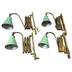 Four Mid-Century Modern Extendable Brass Italian Wall Sconces, 1950s