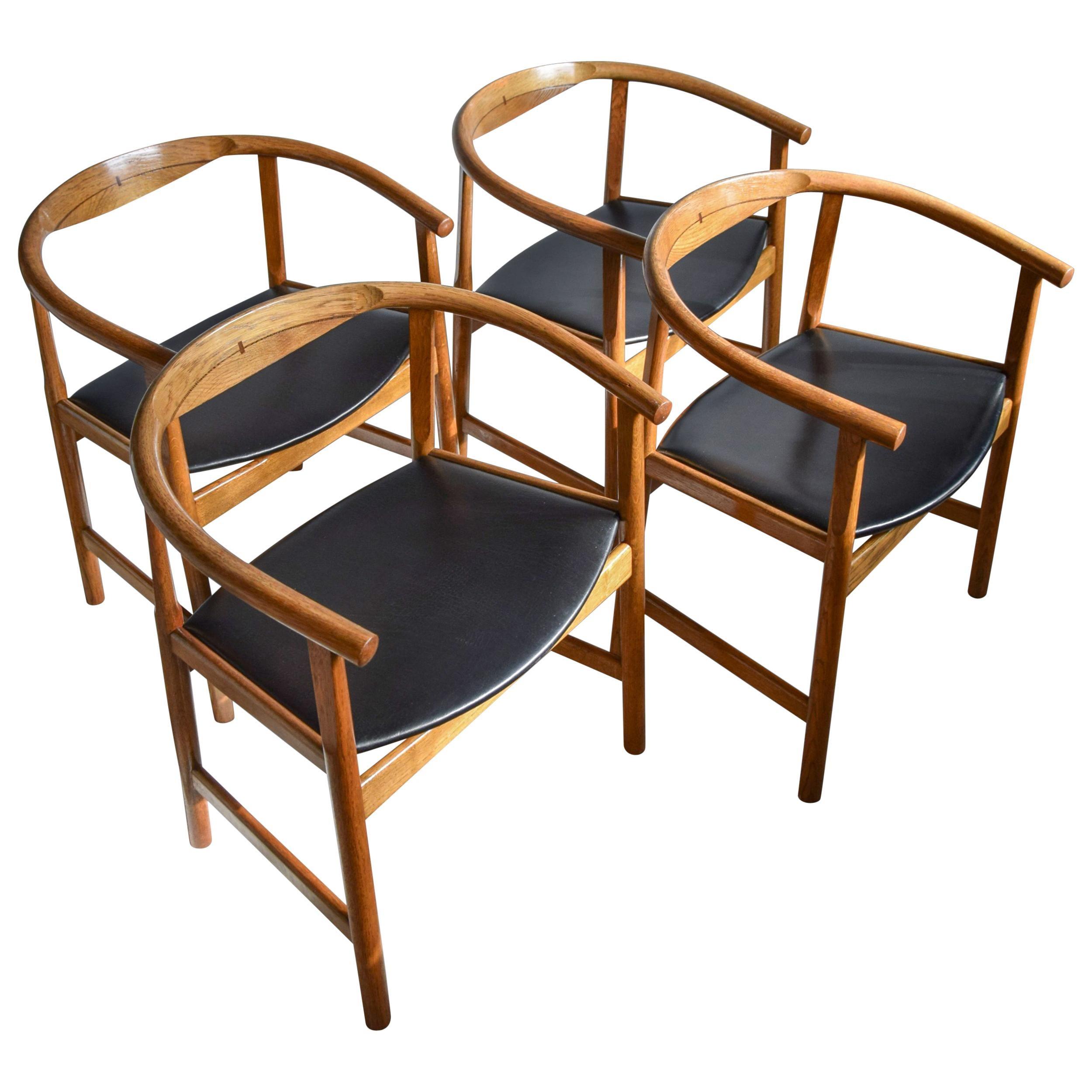 Four Mid-Century Modern Hans Wegner PP 203 Oak and Wenge Chairs