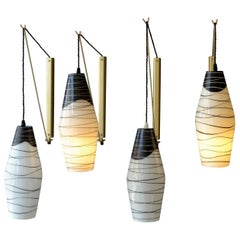 Four Midcentury Modernist Czech Black and White Hand Painted Glass Wall Lamps