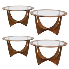 Four Mid-Century Tables of Afromisa Wood with Glass by v.B. Wilkins for G-Plan