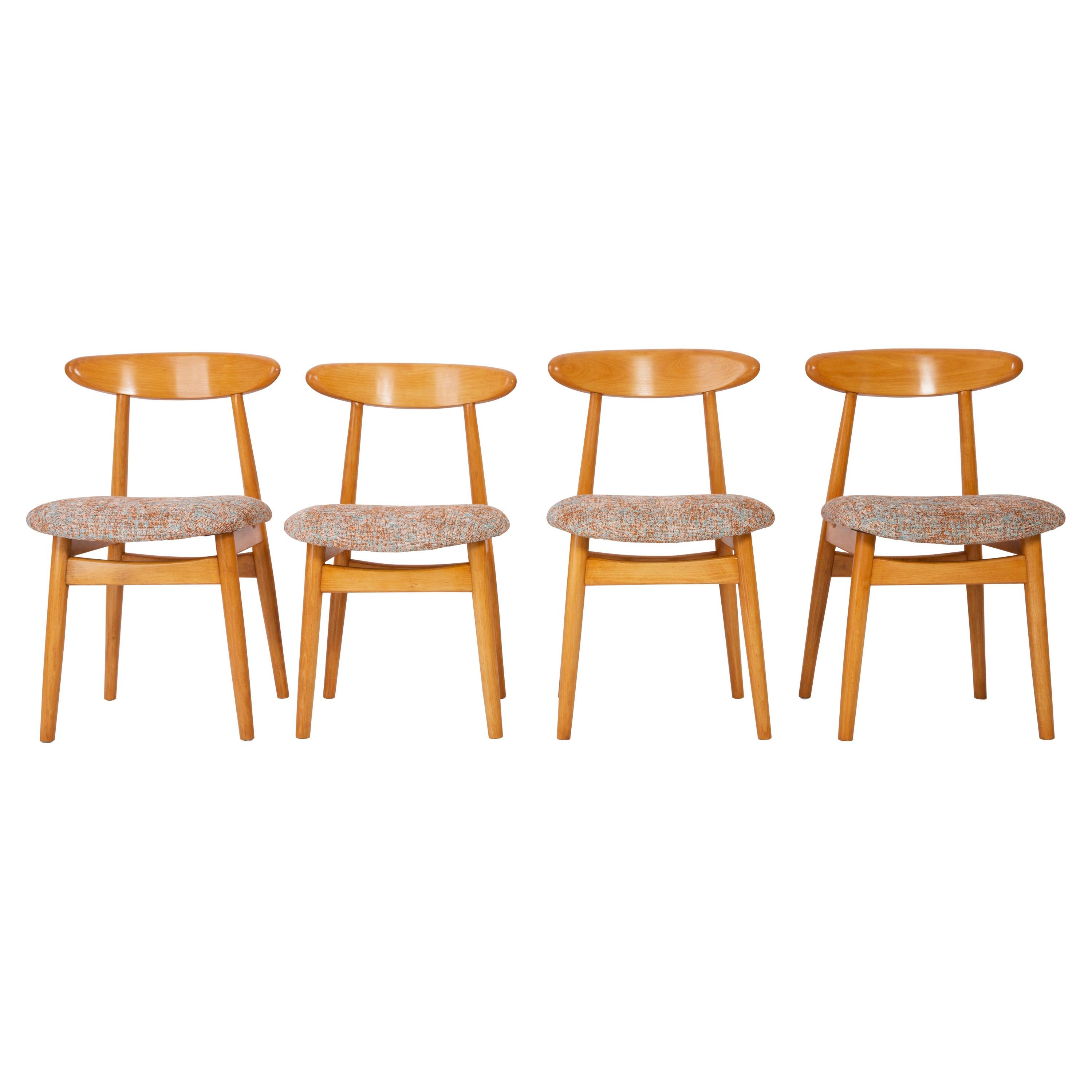 Four Midcentury Black Pixel Dining Chairs, 1960s
