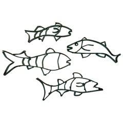 Four Midcentury Copper Fish Sculpture