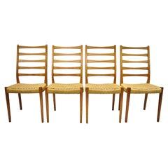 Four Midcentury Danish Swedish Modern Svegards Markaryd Teak Rope Dining Chairs