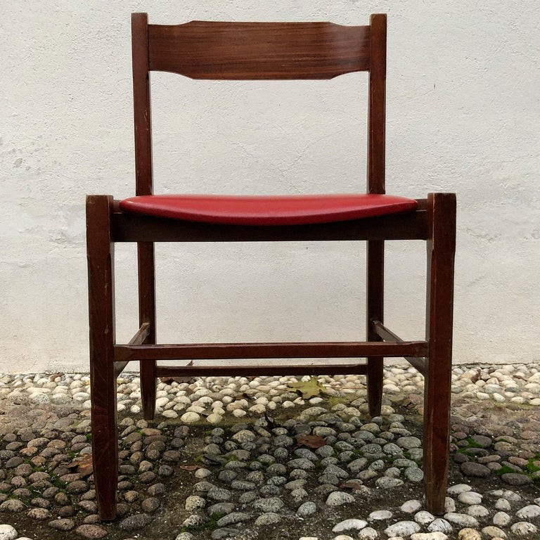 Four Midcentury Dining Chairs in Skai and Beech by Gianfranco Frattini, 1960s For Sale 9