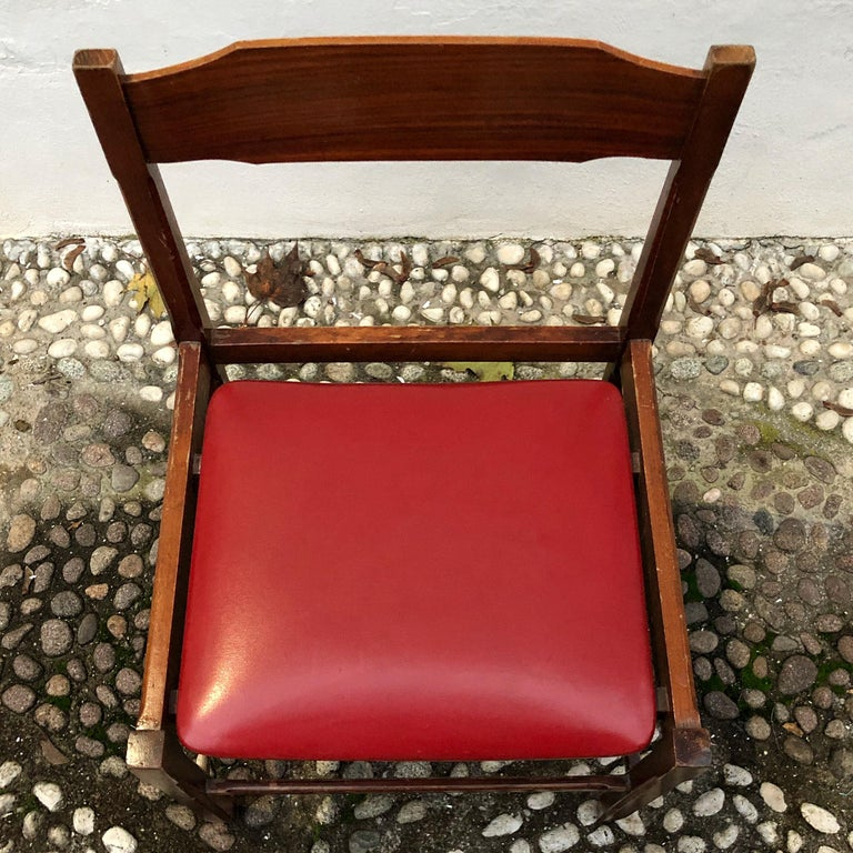Four Midcentury Dining Chairs in Skai and Beech by Gianfranco Frattini, 1960s For Sale 13
