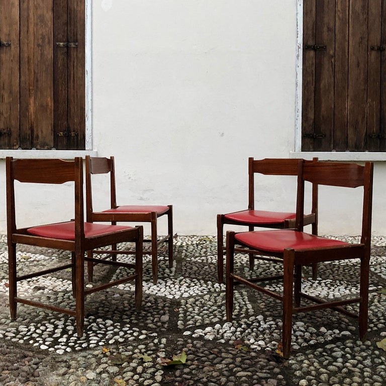 Mid-Century Modern Four Midcentury Dining Chairs in Skai and Beech by Gianfranco Frattini, 1960s For Sale