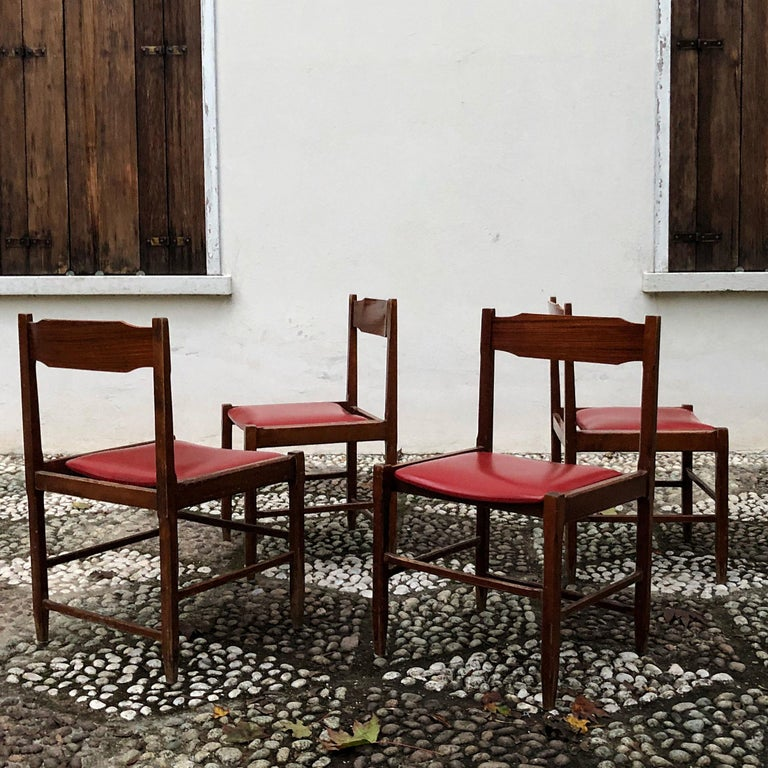 Italian Four Midcentury Dining Chairs in Skai and Beech by Gianfranco Frattini, 1960s For Sale