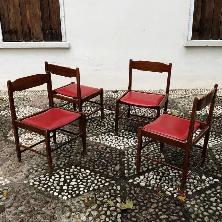 Mid-20th Century Four Midcentury Dining Chairs in Skai and Beech by Gianfranco Frattini, 1960s For Sale