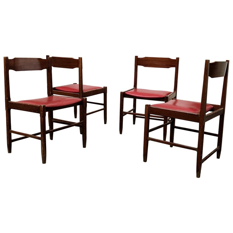 Four Midcentury Dining Chairs in Skai and Beech by Gianfranco Frattini, 1960s For Sale