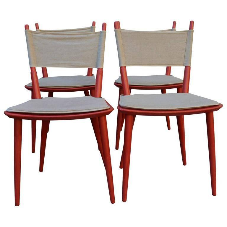 Four red Midcentury Jørgen Bækmark chairs made for FDB from late 1950s-early 1960s.
