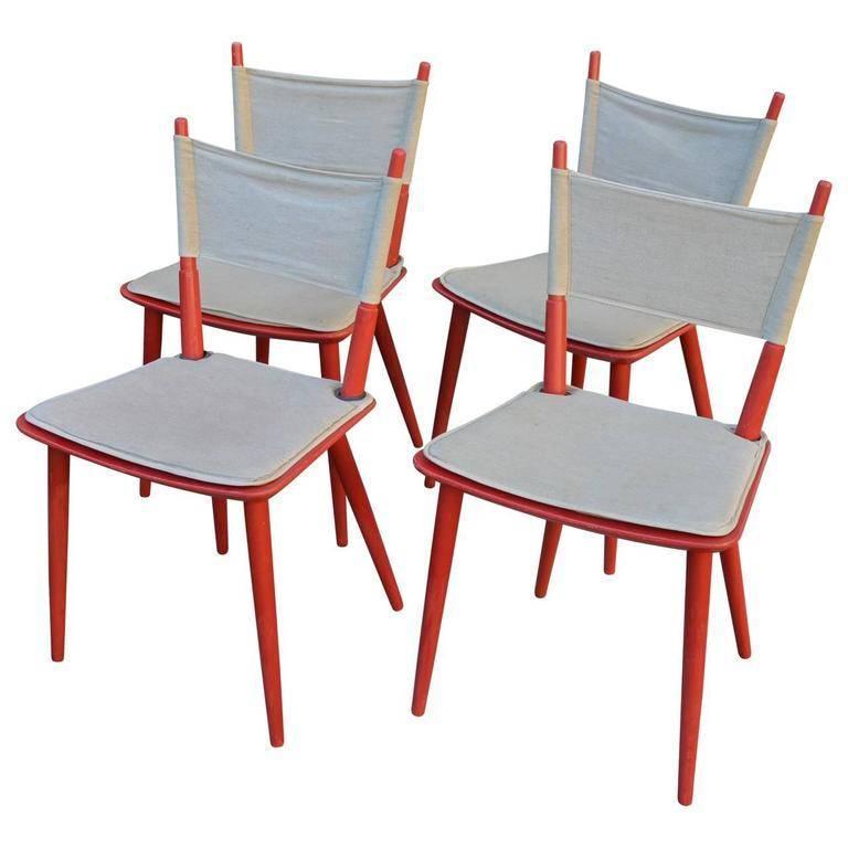 Painted Set of Four Danish Jørgen Bækmark Dining Chairs, Mid-Century Modern For Sale