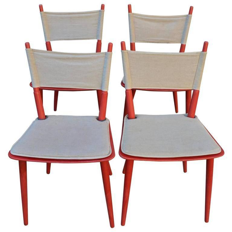 Painted Four Midcentury Jørgen Bækmark Dinning Chairs For Sale
