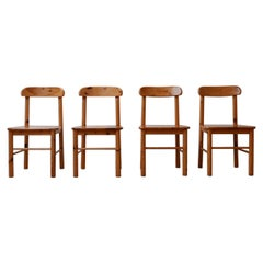 Four Midcentury Pine Dining Chairs