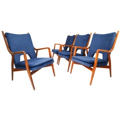 Four Midcentury Reupholstered Lounge Chairs in Blue Velvet, France, 1960s