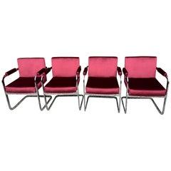 Four Milo Baughman Chrome Chairs