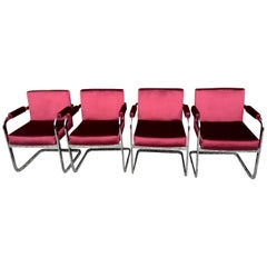 Four Milo Baughman Chrome Chairs in Velvet Upholstery