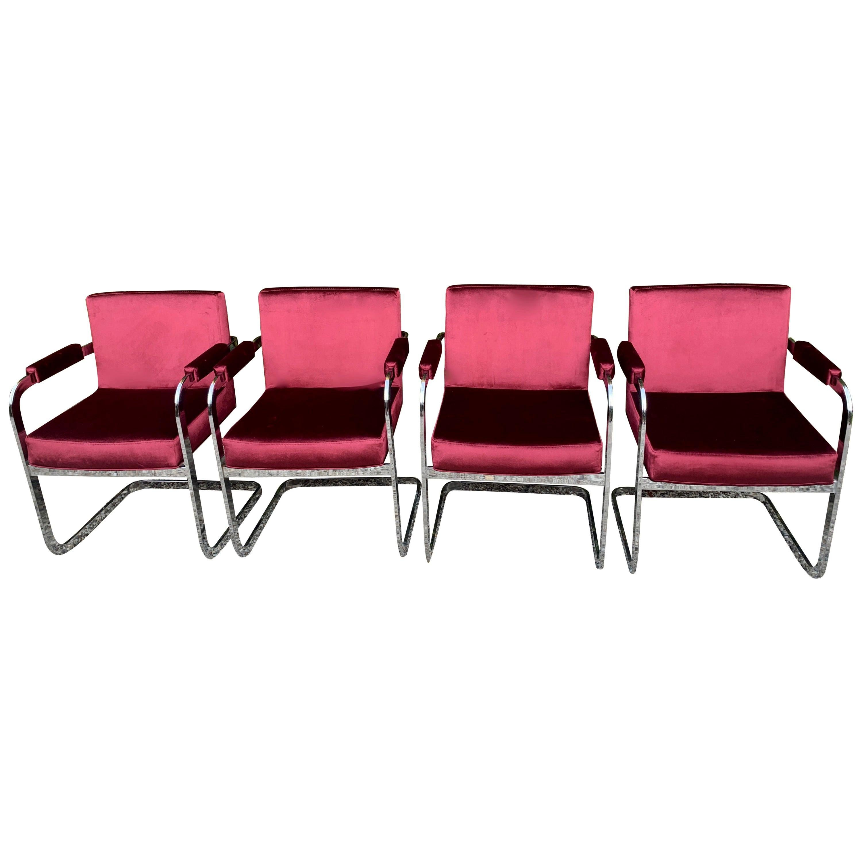 Set of Four Milo Baughman for Thayer Coggin Chrome Dining Chairs