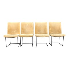 Four Milo Baughman for Thayer Coggin Thin Bronze Dining Chairs