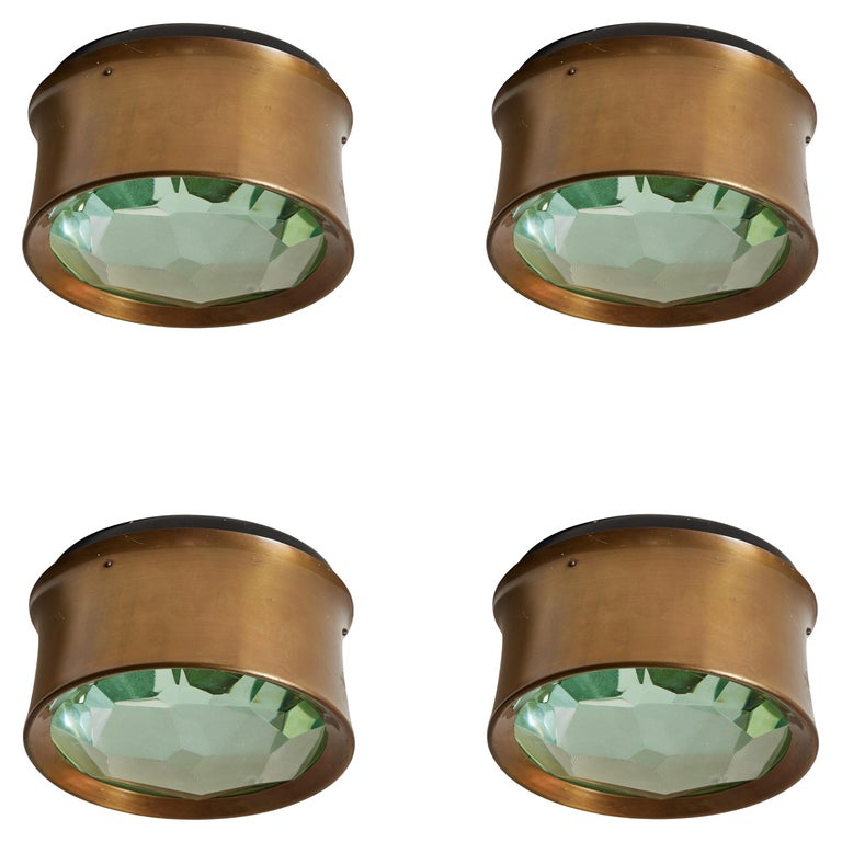Four Model 2319 Wall/ Ceiling Lights by Max Ingrand for Fontana Arte For Sale