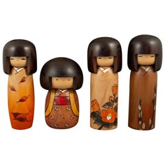 Four Modern Creative Kokeshi Dolls by Usaboro Okamoto, Japan