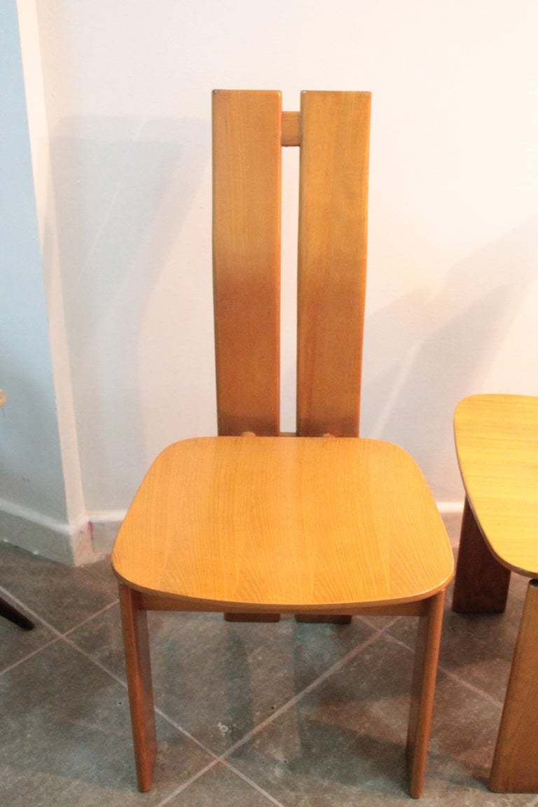 Mid-20th Century Four Modernist Italian Chairs in the style of Afra and Tobia Scarpa 1970s  For Sale