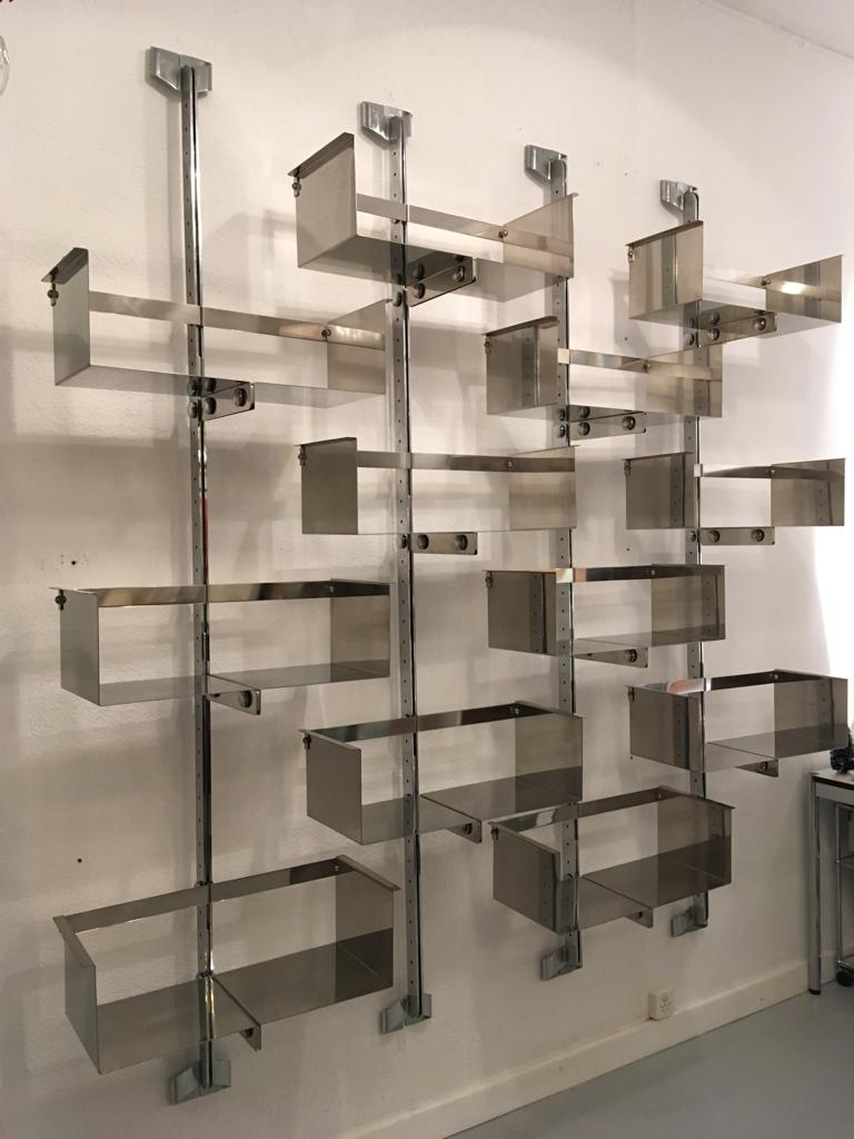 Italian Four Modular Wall-Mounted Shelving System by Vittorio Introini for Saporiti 1969