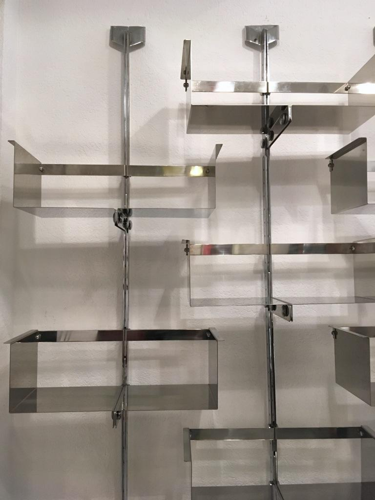 Stainless Steel Four Modular Wall-Mounted Shelving System by Vittorio Introini for Saporiti 1969