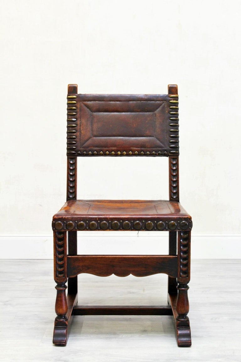 Four Monastic Chairs Antique Armchair Leather Vintage Rivets Old Span In Good Condition For